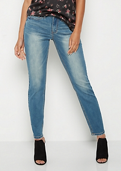 Sandblasted Vintage High Rise Skinny Jean in Long