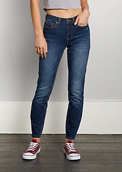 Sandblasted High Rise Skinny Jean