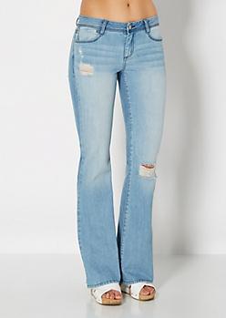 Brushed Destroyed Flare Jean
