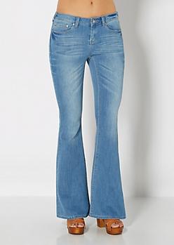 Medium Blue Brushed Vintage Flare Jean