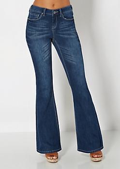 Dark Blue Brushed Vintage Flare Jean