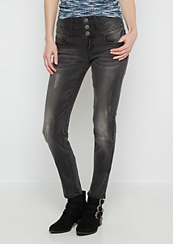 Black Flex Scratched High Waist Skinny Jean