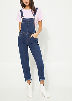 Rinsed Frayed Step Hem Denim Overalls