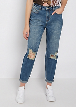 Destroyed & Washed High Rise Mom Jean in Regular