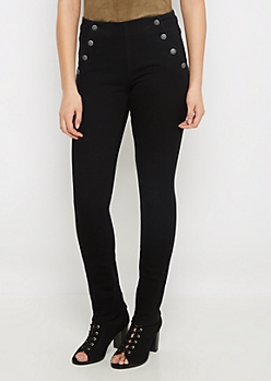 Black 8-Shank High Waist Skinny Pant
