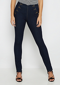 Dark High Waist Sailor Skinny Jean