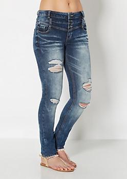 High Waist 3-Shank Destroyed Skinny Jean