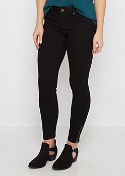 Black Sandblasted Zip Ankle Jegging