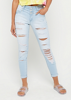 Light Blue Destroyed High Rise Skinny Jean in Regular