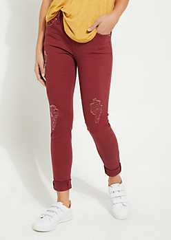 Burgundy Better Butt Mid Rise Skinny Jean in Regular
