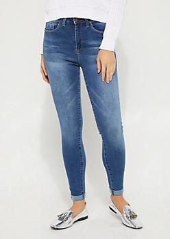 Sandblasted High Rise Ankle Skinny Jean in Regular