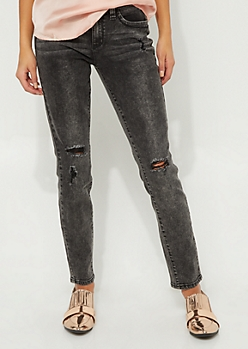 Better Butt Black Wash Distressed Mid Rise Skinny Jeans in Regular