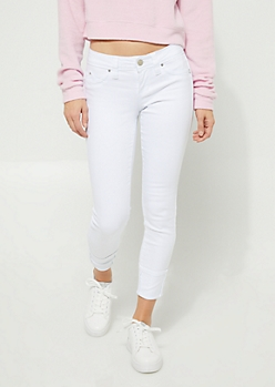 Better Butt White Cuffed Mid Rise Twill Skinny Jeans