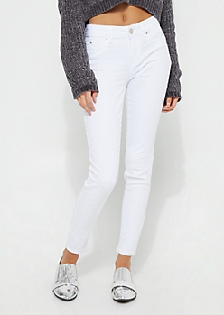 Better Butt White Mid Rise Twill Skinny Jeans
