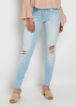 Light Blue Destroyed Better Butt Jegging in Regular
