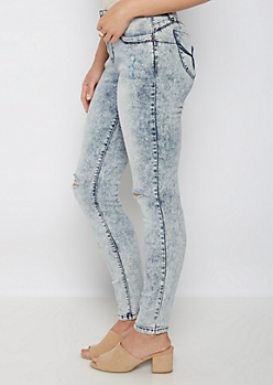 Gray Acid Wash Distressed Better Butt Jegging