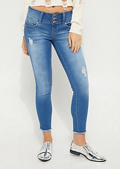 3-Shank Distressed Better Butt Ankle Jean