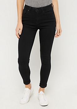 Black High Rise Cuffed Ankle Skinny Jean