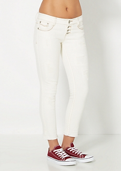 White Distressed 4-Shank Skinny Jean