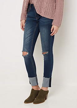 Flex Frayed Folded Cuff Skinny Jean