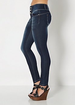 Better Booty Dark Blue Sandblasted Skinny Jean