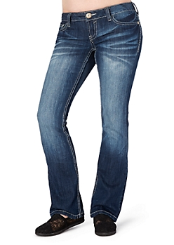Embroidered & Whiskered Slim Boot Jean in Short