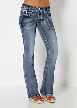 Sequin Sandblasted Slim Boot Jean