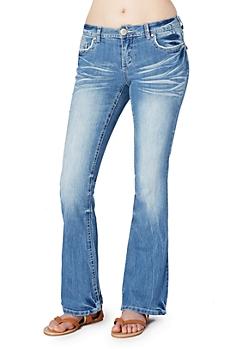 Sandblasted Flare Jean in Short