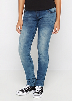 Flex Washed Wide Hem Skinny Jean