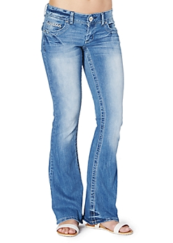 Embroidery Accented Flare Jean in Curvy