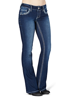 Embroidered Streak Slim Boot Jean