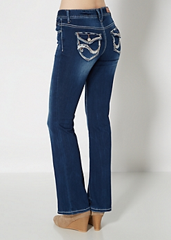 Wavy Embroidered Boot Jean in Short