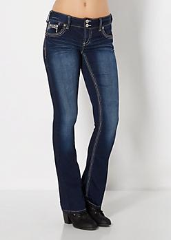 Metallic Beaded Slim Boot Jean