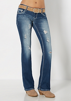 Destroyed Embroidered Slim Boot Jean