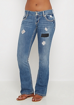 Patched Vintage Skinny Boot Jean