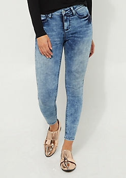 Light Blue Acid Wash High Rise Jegging