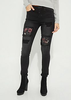 Floral Patched Distressed Black Jean
