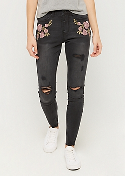 Rose Stitched Vintage High Rise Jegging in Regular