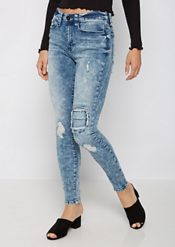 Heavy Washed Destroyed High Waist Jegging