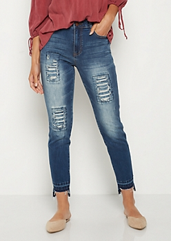 Destroyed & Repaired High Rise Jean in Regular