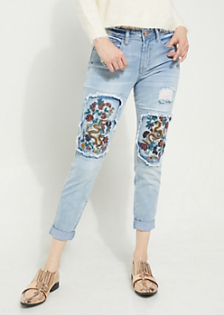 Light Wash Embroidered Jeggings in Regular