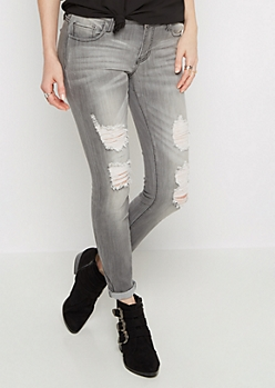Gray Destroyed Rolled Cuff Skinny Jean