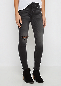 Black Frayed Hem Cropped Jegging