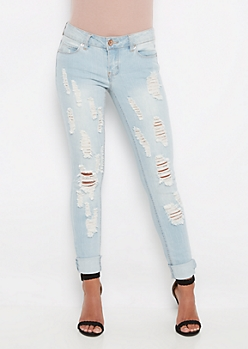 Sandblasted & Destroyed Skinny Jean