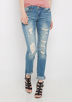 Shredded & Sandblasted Cropped Cuffed Jegging
