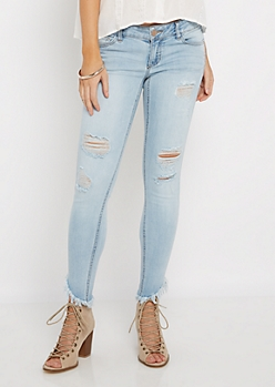 Light Destroyed Stepped Hem Jegging