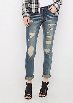 Dark Blue Destroyed Rolled Cuff Jegging