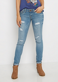 Distressed Double Cuffed Jegging