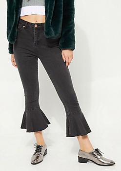 Black High Rise Trumpet Flare Jeans in Regular