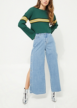Medium Wash Snap Down Wide Leg Jeans in Regular